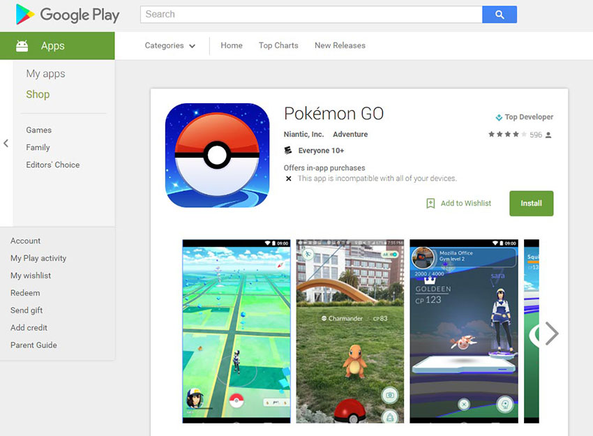 Pokemon go в Google play