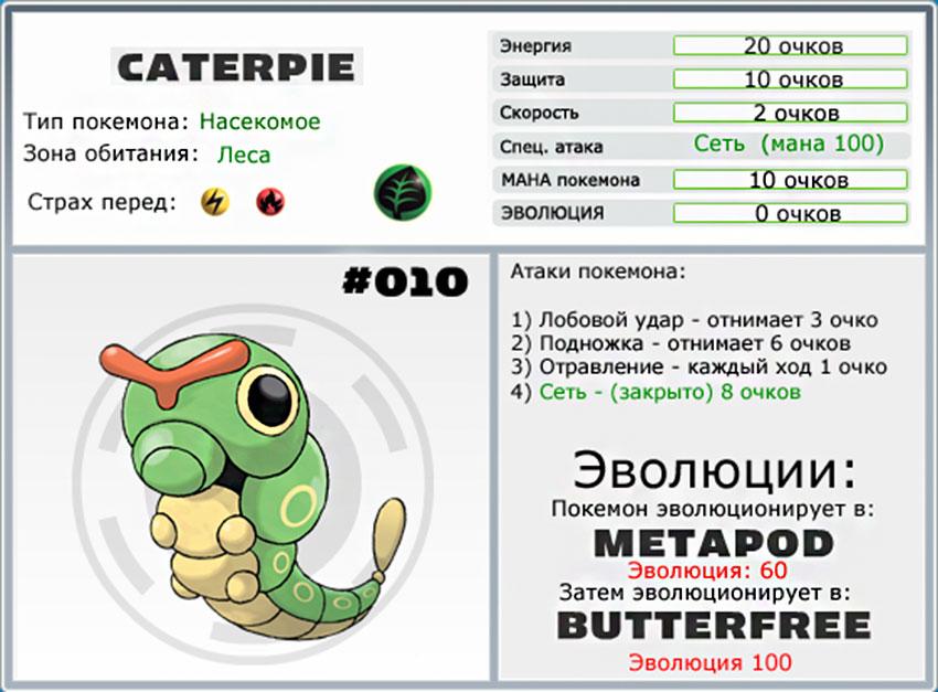 Caterpie - стадии эволюции покемона