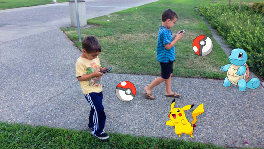 Дети играют в PokemonGo