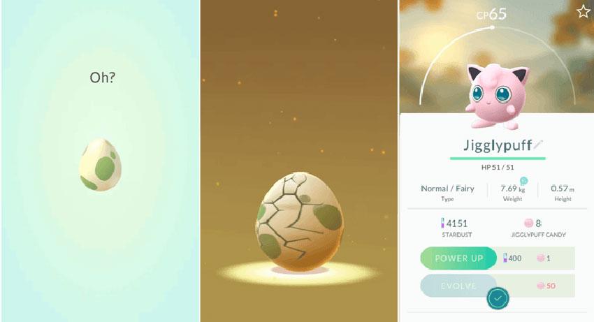 Вылупление покемона из яйца в Pokemon Go