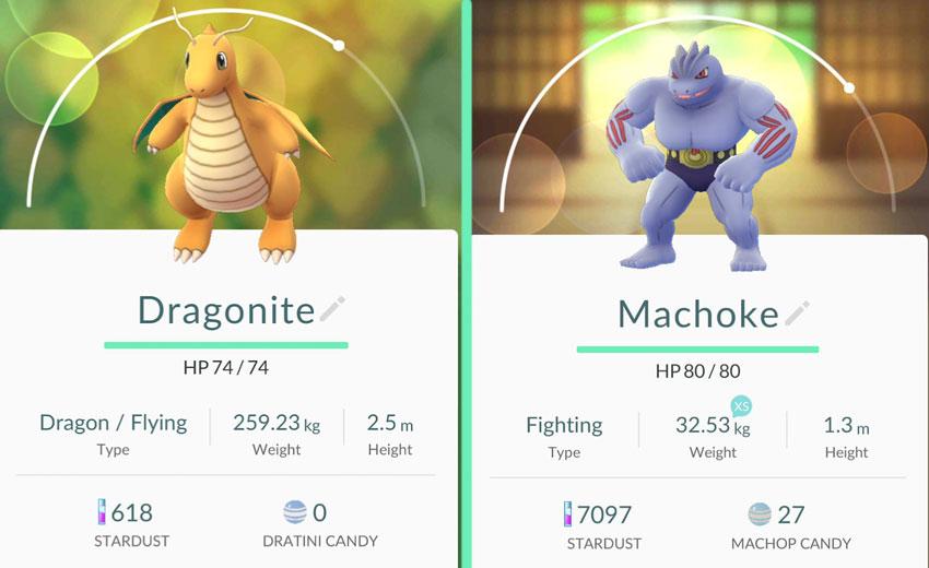 Сравнение CP покемонов